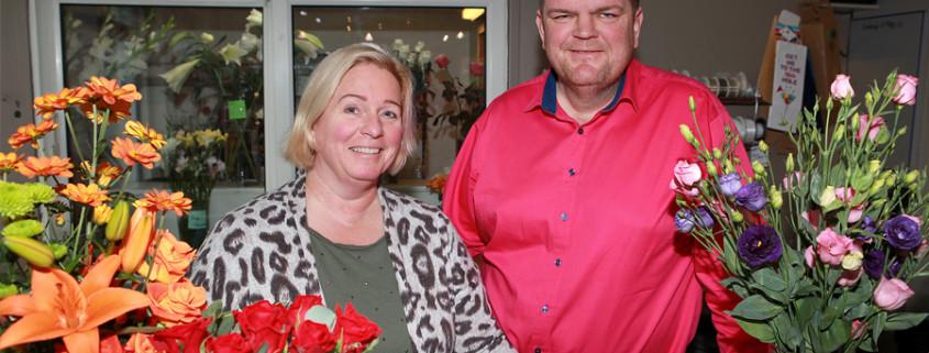 Helga og Leifur í Blómasmiðjunni.