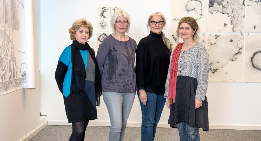 Kristín, Ólöf, Jean og Guðbjörg sýna í Listasal Mosfellsbæjar.