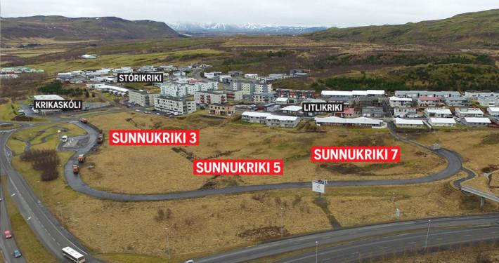 Lóðum 3,5 og 7 við Sunnukrika hefur verið úthlutað.