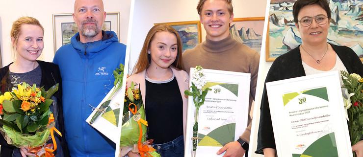 Tekið við viðurkenningum. Ásta, Magne, Emma Sól Einar Karl og Anna Ólöf.