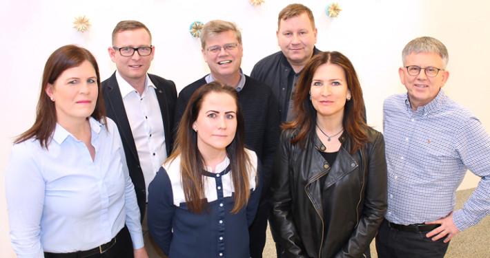 Helga, Rúnar Bragi, Arna, Haraldur,  Ásgeir, Kolbrún og Hafsteinn.  Á myndina vantar Kristínu.