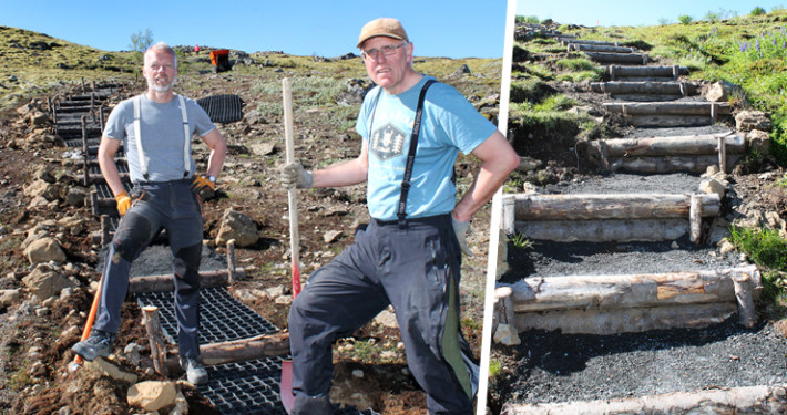 Guðmundur og Ævar að störfum en í lok sumars má gera ráð fyrir því að þrepin verði orðin hátt í 250.